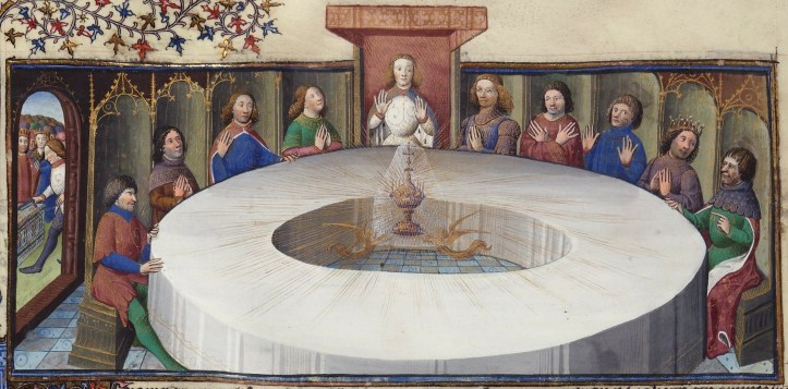 King Arthur's knights, gathered at the Round Table to celebrate the Pentecost, see a vision of the Holy Grail Maître des cleres femmes