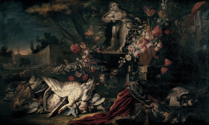 Jean Baptiste Oudry Death nature with shooting gear and flowers I French painting Cuadro francés